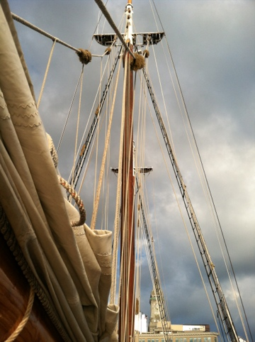 view up the mast of a wooden-masted tall ship